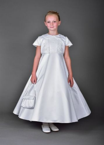 Communion Dress with Bead Embellished Peter Pan Collar